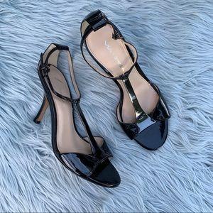 Via Spiga Ira Metal T Strap Sandal Heel Leather